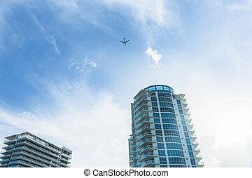 pasajero, edificios, apartamento, vuelo, torre, pasado, above., avión