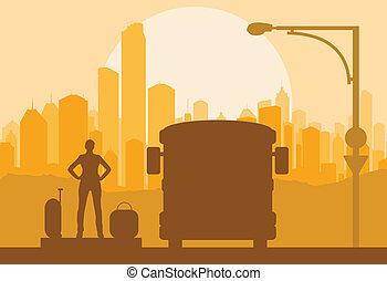 pasajero, equipaje, autobús, esperar, vector, plano de fondo...