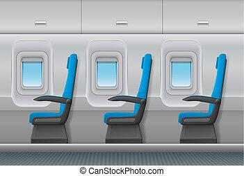 pasajero, illustration., portillas, sillas, interior, avión...