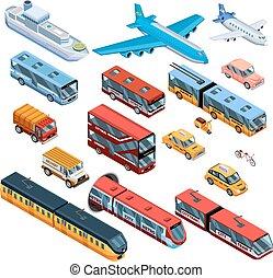 pasajero, isométrico, transporte, iconos