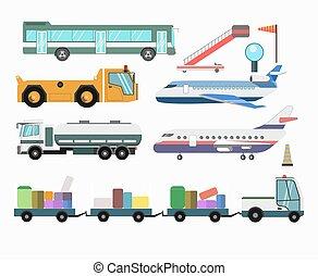 pasajero, servicio, iconos, vehículos, aeropuerto, vector,...