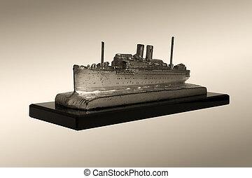 pasajero, sobre, viejo, 1935, modelo, buque de vapor