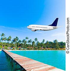 pasajero, vuelo, airliner