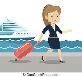 pasajero, yendo, shipboard., maleta