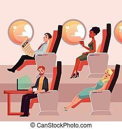 pasajeros, Conjunto, empresa / negocio, hembra, avión,...