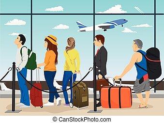 pasajeros, esperar, cola, aeropuerto, recepción, mostradores