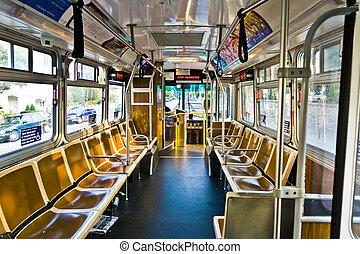 pasajeros, parada de autobús, sin, parar, público