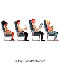 pasajeros, vario, Asientos, avión, hombre, mujeres