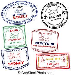 pasaporte, grunge, sellos