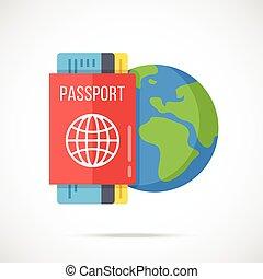 pasaporte, pasede embarque, tierra