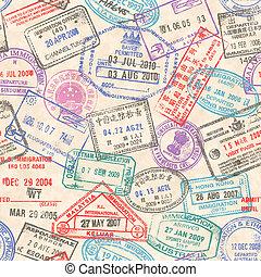 pasaporte, sellos, seamless, textura