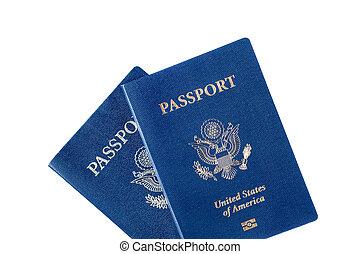 pasaportes, blanco, aislado