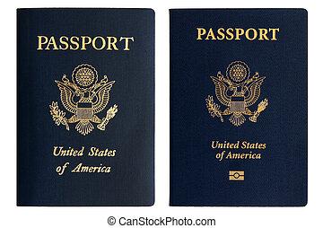 pasaportes, nuevo, norteamericano, viejo