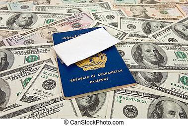 pasaportes, paquete,  U,  S, droga, contra, afgano, dólares