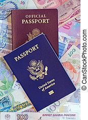pasaportes, unido, vertical, personal, funcionario, estados
