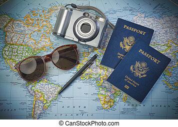 pasaportes, viaje, mundo