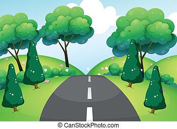 pasar, colinas, camino
