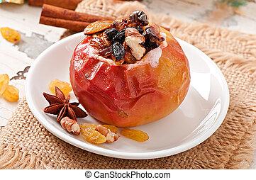 pasas, manzanas cocidas al horno