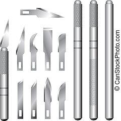 pasatiempo, cuchillo, y, hojas, vector, conjunto