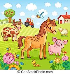 pascere, animali domestici, farm.
