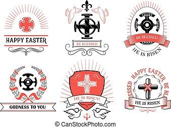 paschal, salutation, vecteur, crucifix, croix, paques