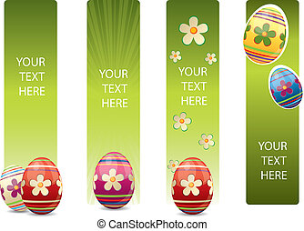 pascua, banderas, con, colorido, huevos de pascua