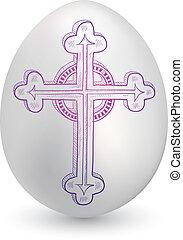 pascua, bosquejo, huevo, crucifijo