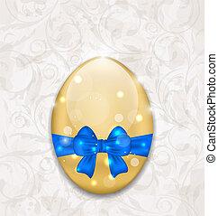 pascua, brillante, huevo, envoltura, azul, arco