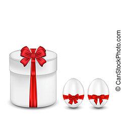 pascua, caja obsequio, con, arco rojo, y, huevos
