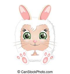 pascua, caricatura, conejo, conejito