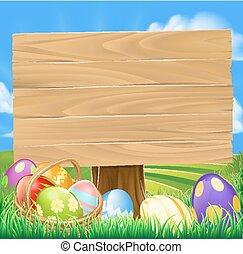 pascua, caza, huevo, caricatura