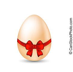 pascua, celebración, huevo, envoltura, arco rojo