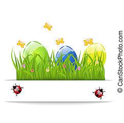 pascua, colorido, huevos, en, hierba verde, con, espacio, para, su, texto