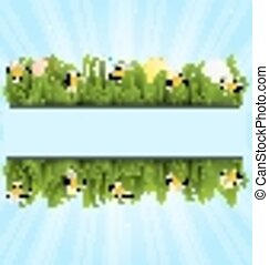 pascua, colorido, huevos, y, camomiles, en, hierba verde, con, espacio, para, su, texto