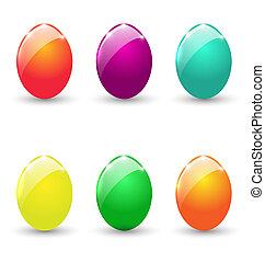pascua, conjunto, colorido, huevos, aislado, blanco, plano...