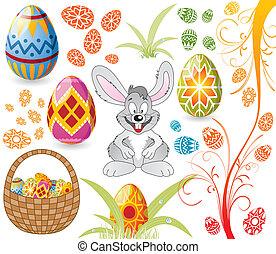 pascua, conjunto, con, huevos, conejo, y, cesta