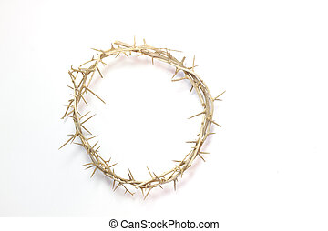 pascua, corona de espinas, aislado, en, un, fondo blanco