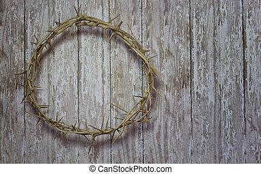 pascua, corona de espinas, en, un, madera, tablón, rústico, plano de fondo