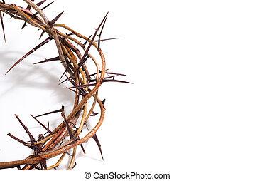 Pascua, corona,  -,  religión, Plano de fondo, Espinas, blanco
