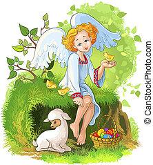 pascua, cristiano, theme., ángel, niña