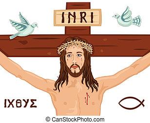 pascua, crucifixión, en, el, cruz