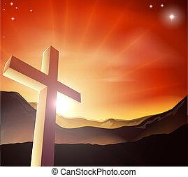 pascua, cruz, concepto