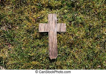 pascua, de madera, cruz, en, pasto o césped