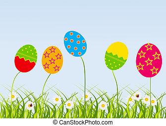 pascua, eggs-flowers, tarjeta