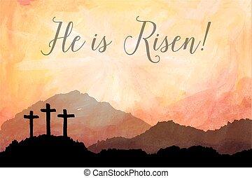 pascua, escena, con, cross., jesús, christ., acuarela, ilustración