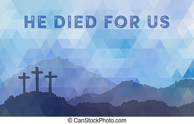 pascua, escena, con, cross., jesús, christ., polygonal, design.