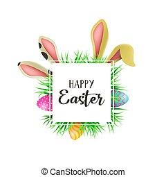 pascua feliz, búsqueda de huevo, tarjeta, con, diversión, orejas de conejito