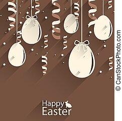 pascua feliz, chocolate, plano de fondo, con, huevos, y, serpentina