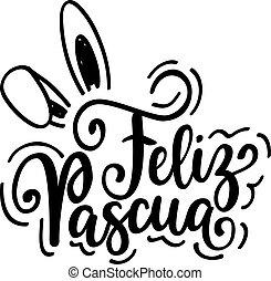 pascua feliz, feliz, pascua, vector, español, día de fiesta...