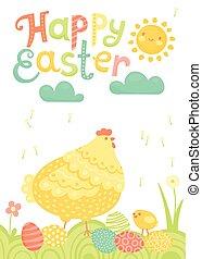 pascua feliz, festivo, postal, con, gallina, pollos, y, pintado, huevos, en, un, meadow.
